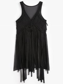 Macrame Fringed Cover Up - Black