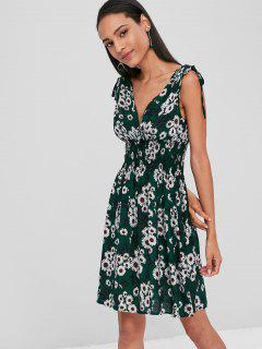 Cinched Daisy Surplice Dress - Dark Forest Green L