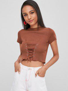 Lace Up Cropped Knit T-Shirt - Chestnut