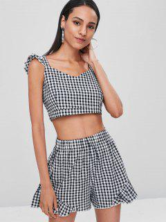 Gingham Crop Top And Shorts Matching Set - Multi L