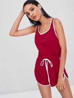 Piping Sleeveless Romper - Love Red S