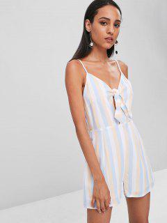 Tie Front Stripes Cami Romper - Multi L