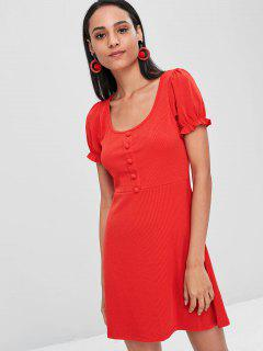 Ruffle Trim Fit And Flare Dress - Red M
