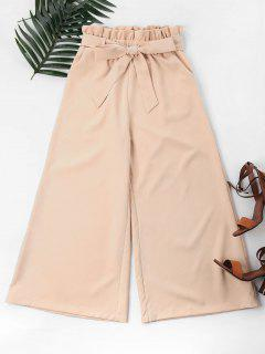 Wide Leg Belted Knot Pants - Apricot S