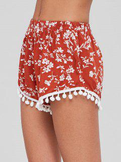 Crochet Trim Floral Shorts - Chestnut Red
