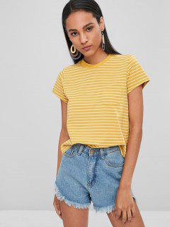 Striped Tee With Pocket - Rubber Ducky Yellow L