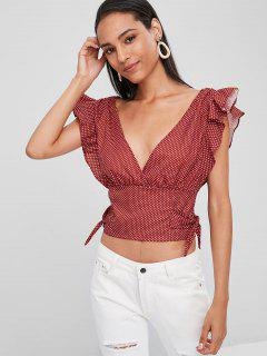 Ruffles Dots Knotted Top - Chestnut Red M