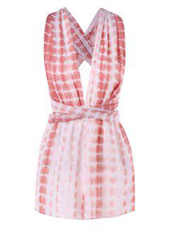 Knotted Tie Dye Romper - Rose S