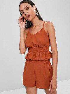 Smocked Cami Top With Shorts Set - Chestnut Red L