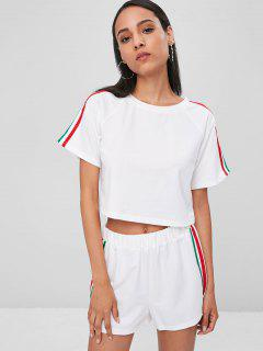 Striped Patched Crop Shorts Set - White L