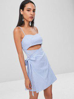 Striped Cami Wrap Dress - Sky Blue L