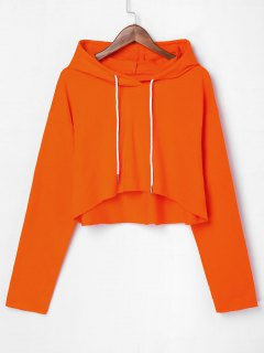 Drop Shoulder Raw Hem Crop Hoodie - Orange M