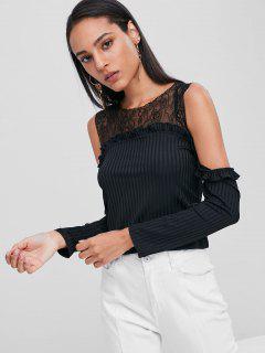 Cold Shoulder Lace Yoke Ribbed T-Shirt - Black S