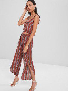 Striped Crop Top And Slit Pants Matching Set - Chestnut S