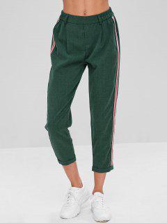 Pantalon Rayé à Ourlet Roulé - Vert Foncé L