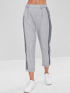 Stripes Patched Rolled Hem Pants - Light Gray M