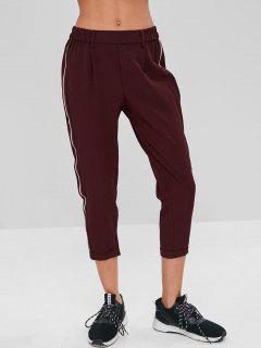 Stripes Patched Rolled Hem Pants - Red Wine M