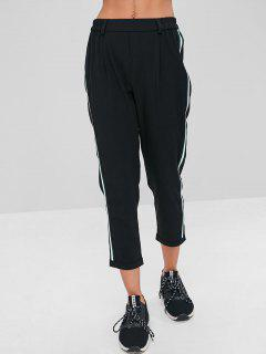 Stripes Patched Rolled Hem Pants - Black M