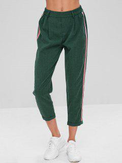 Stripes Patched Rolled Hem Pants - Deep Green M