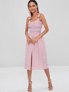 Slit Smocked Stripes Dress - Pink Daisy S