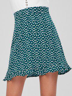 Back Zipper Ruffles Mini Skirt - Medium Sea Green M