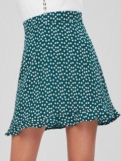 Back Zipper Ruffles Mini Skirt - Medium Sea Green L