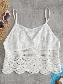Haut Floral En Camisole Et En Crochet  - Blanc