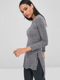 Slit Ribbed Longline Top - Dark Gray S