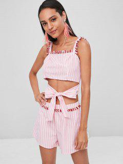 Striped Fringed Top Shorts Matching Set - Light Pink Xl