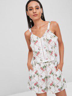 Floral Crochet Trim Eyelet Top Set - White S