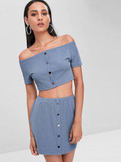 Buttoned Off Shoulder Top And Skirt Set - Light Steel Blue M