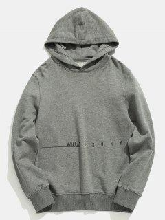 Letter Printed Solid Color Casual Hoodie - Gray Cloud 2xl