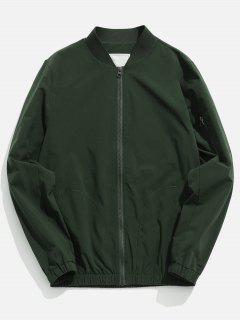 Pockets Quick Dry Zipper Baseball Jacket - Camouflage Green Xl