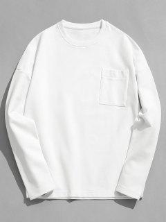 Solid Color Pocket Fleece Sweatshirt - White 3xl