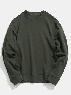 Basic Crew Neck Sweatshirt - Camouflage Green L