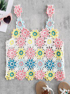 Crochet Floral Tank Top - Multi-a