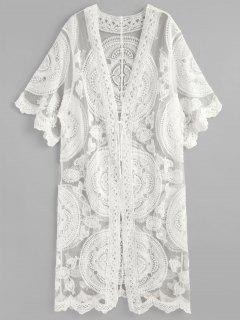 Tie Front Embroidery Kimono - White