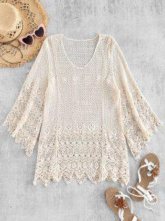 Bell Sleeve Crochet Top - Warm White