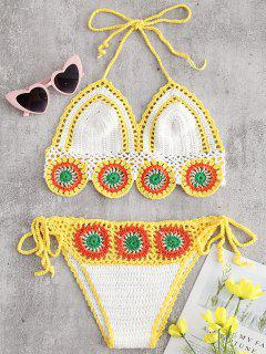 Muschel Blumen Häkel Bikini Set - Weiß