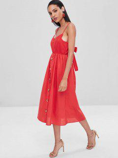 Button Up Knotted Cami Dress - Red L