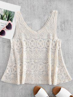 Embroidered Tank Top - Crystal Cream