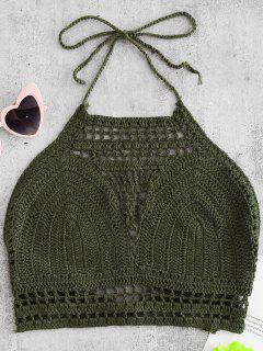 High Neck Crochet Top - Camouflage Green