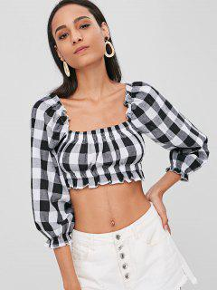 Cropped Plaid Square Top - Black S