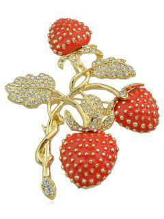 Broche Design Fraises En Strass - Multi