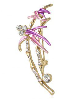 Rhinestone Flower Spray Designed Brooch - Purple