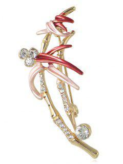 Broche De Diseño De Flor De Diamantes De Imitación - Rojo