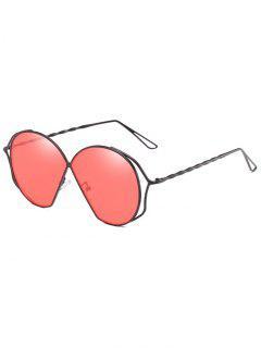 Metal Frame Irregular Flat Lens Novelty Sunglasses - Scarlet