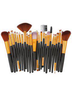 25Pcs Synthetic Fiber Hair Makeup Brush Collection - Black