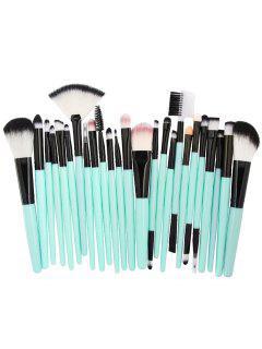 25Pcs Synthetic Fiber Hair Makeup Brush Collection - Light Sea Green