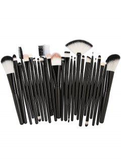 25Pcs Synthetic Fiber Hair Makeup Brush Collection - Natural Black